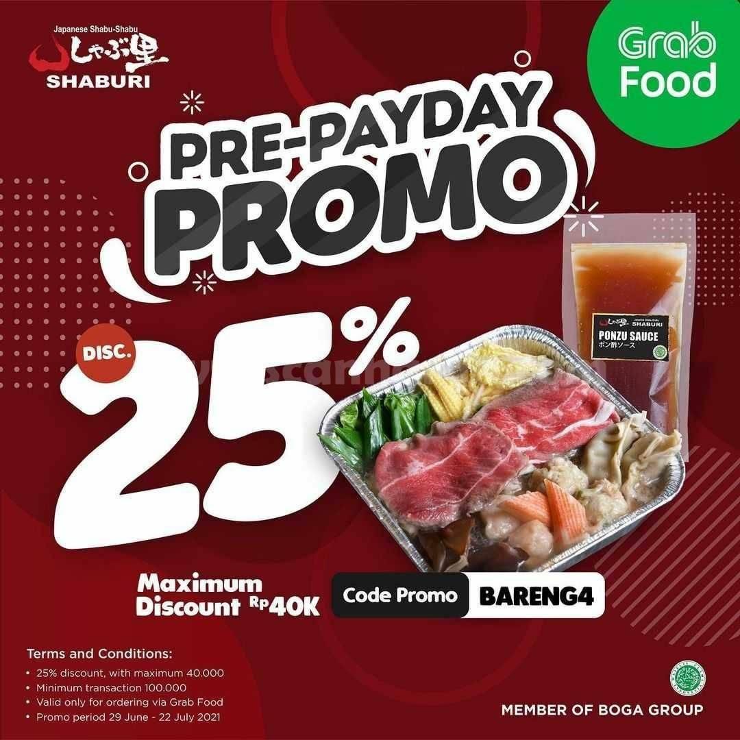 SHABURI Promo PRE-PAYDAY! DISKON 25% via GRABFOOD