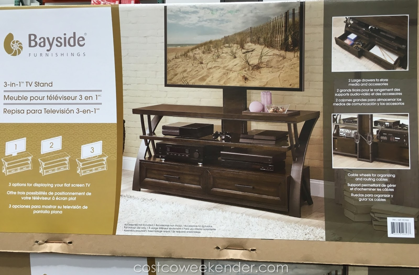 Display Your Tv With The Stylish Look Of The Bayside Furnishings 3 In 1