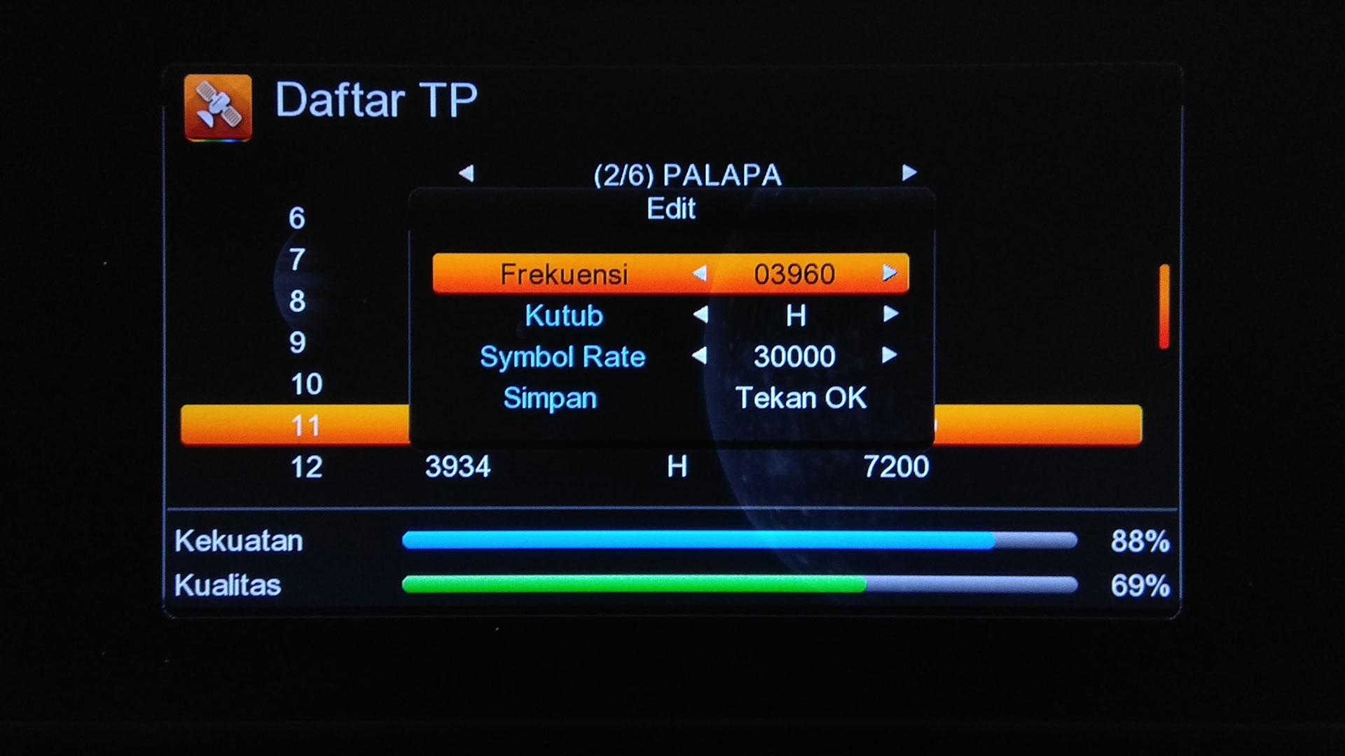 cara merubah frekuensi receiver tanaka topas tv