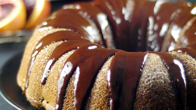 Blood Orange Bundt Cake with Salted Chocolate Ganache