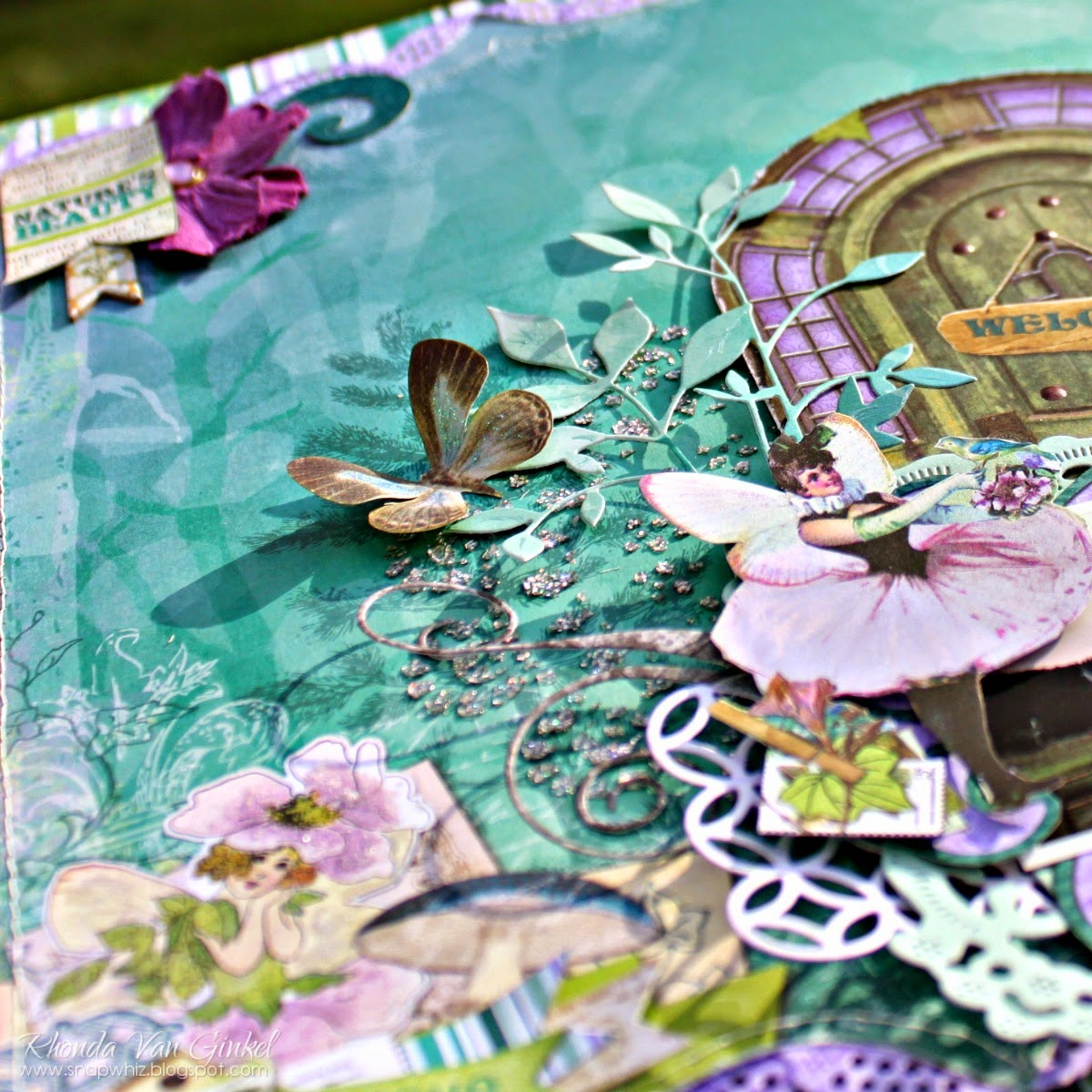 Nature's Beauty Scrapbook Page by Rhonda Van Ginkel using BoBunny Enchanted Garden Collection