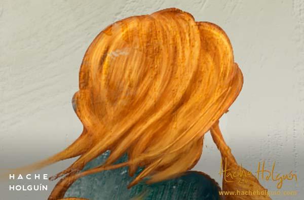 Ilustración Orange typewriter por Hache Holguín (detalle)