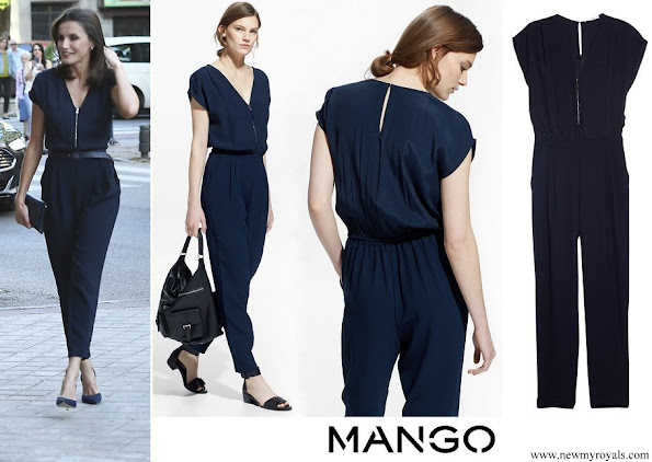 Queen Letizia wore Mango Blue Zip-Detail Jumpsuit