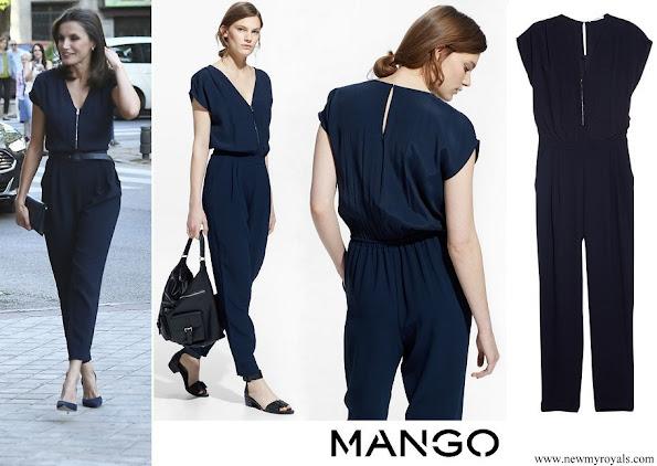 Queen Letizia wore Mango Blue Zip-Detail Jumpsuit