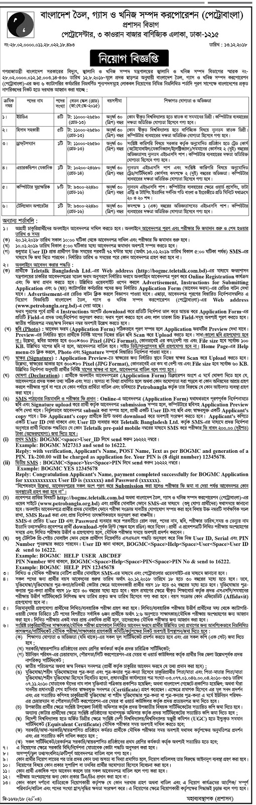 Bangladesh Minerals, Oil and Gas Corporation (BMOGC) Job Circular 2018