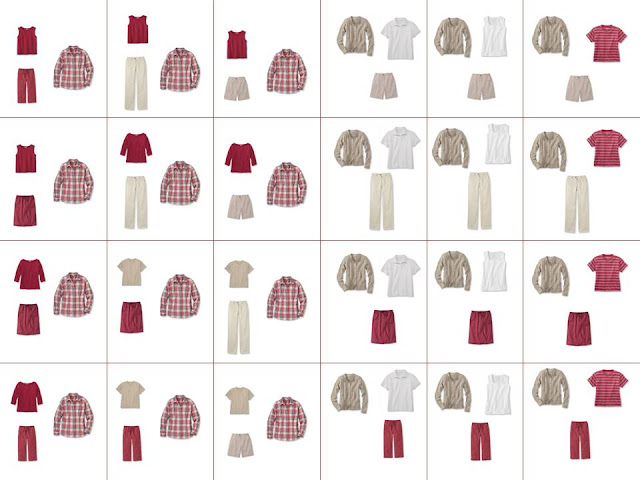 24 different outfits from 16 pieces of clothing