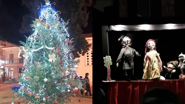 Με γλυκά, φαγητό,  μουσικές και κουκλοθέατρο άναψε το Χριστουγεννιάτικο δέντρο στο Δρέπανο