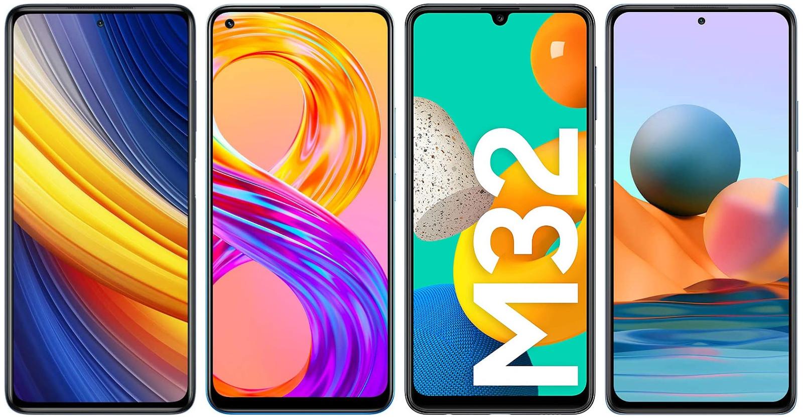 Xiaomi Poco X3 Pro vs Realme 8 Pro vs Samsung Galaxy M32 vs Xiaomi Redmi Note 10 Pro