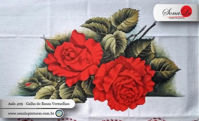 Aula 409 - Galho com Rosas Vermelhas