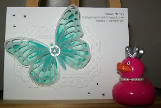 Stampin' Up! Made by Susan Merrey Independent Stampin' Up! Demonstrator, Craftyduckydoodah!, Watercolour Wings, Tin of Cards Stamp Set, File Tab Edgelets, Lovely Lace Embossing Folder, Fun Frames Embossing Folder, Bold Butterfly Thinlets, Butterflies Thinlets,