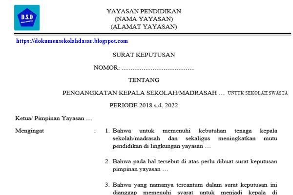 contoh sk (surat keputusan) pengangkatan kepala-sekolah/madrasah swasta dari pimpinan yayasan