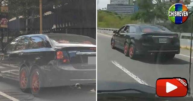Un misterioso carro negro de 6 ruedas se pasea por Caracas