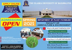 MS.c(Hons)Plant Pathology & PhD In Plant Pathology in FA&E-IUB Spring-2021