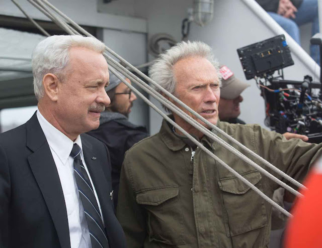 Tom Hanks et Clint Eastwood sur le tournage de Sully