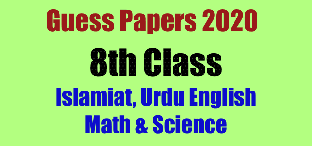 8th Class Guess Papers 2020