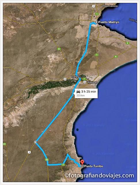 Toda la carretera de Puerto Madryn a Punta Tombo