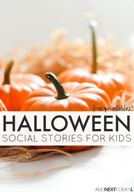 Free Halloween social stories for kids with autism, including printable and video versions from And Next Comes L