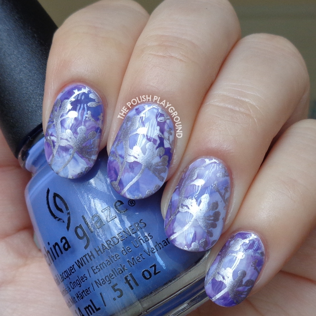 Purple Stamping Marble with Silver Floral Stamping Nail Art