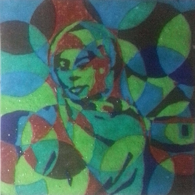 Painting of an African woman in cubism