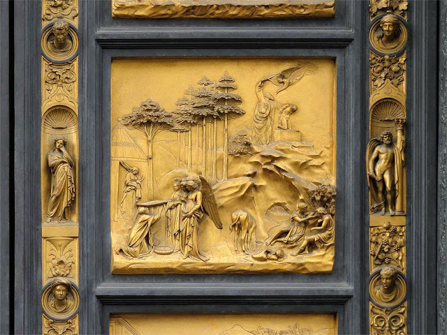 Abraham, copy of the original bronze panel of the Gates of Paradise by Lorenzo Ghiberti, Baptistry of Saint John, Florence