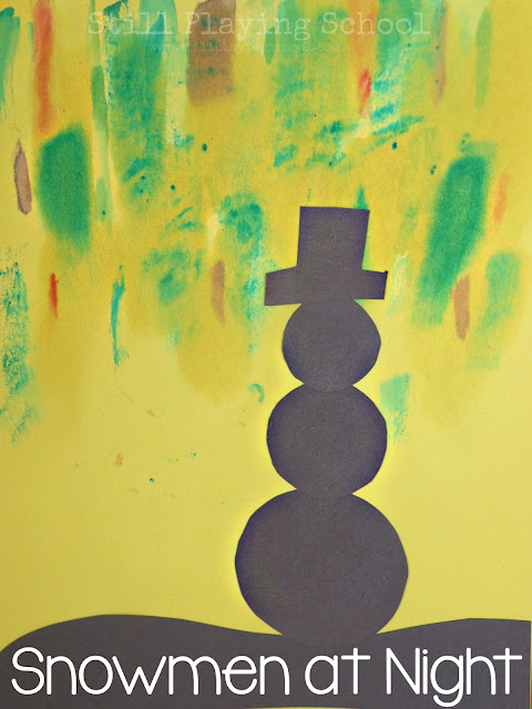 Snowmen at Night Art for Kids