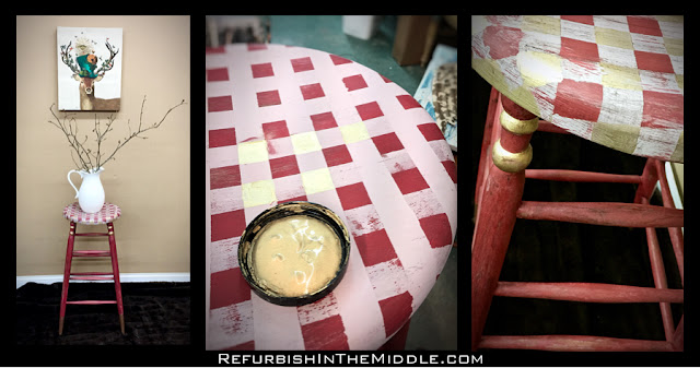 collage of red stool with buffalo check seat