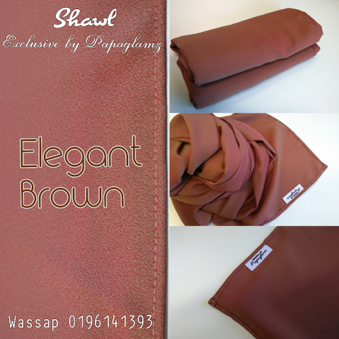 shawl labuh terkini, shawl warna brown gold yellow, shawl murah 2016,