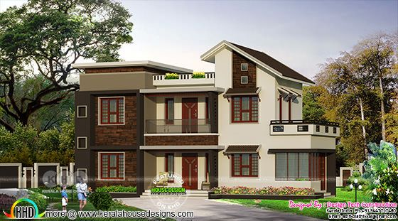 1507 square feet 3 bedroom mixed roof house plan