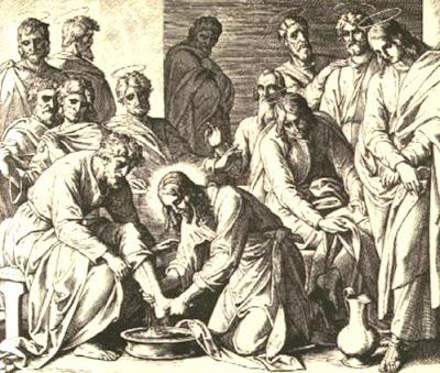 Imagen del Lavatorio de los pies hecho por Jesús
