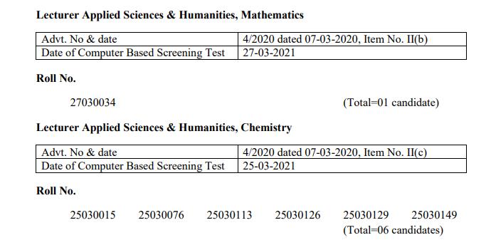 HPPSC Shimla Lecturer Applied Sciences & Humanities, Mathematics and Lecturer Applied Sciences & Humanities, Chemistry, Class-I Result 2021