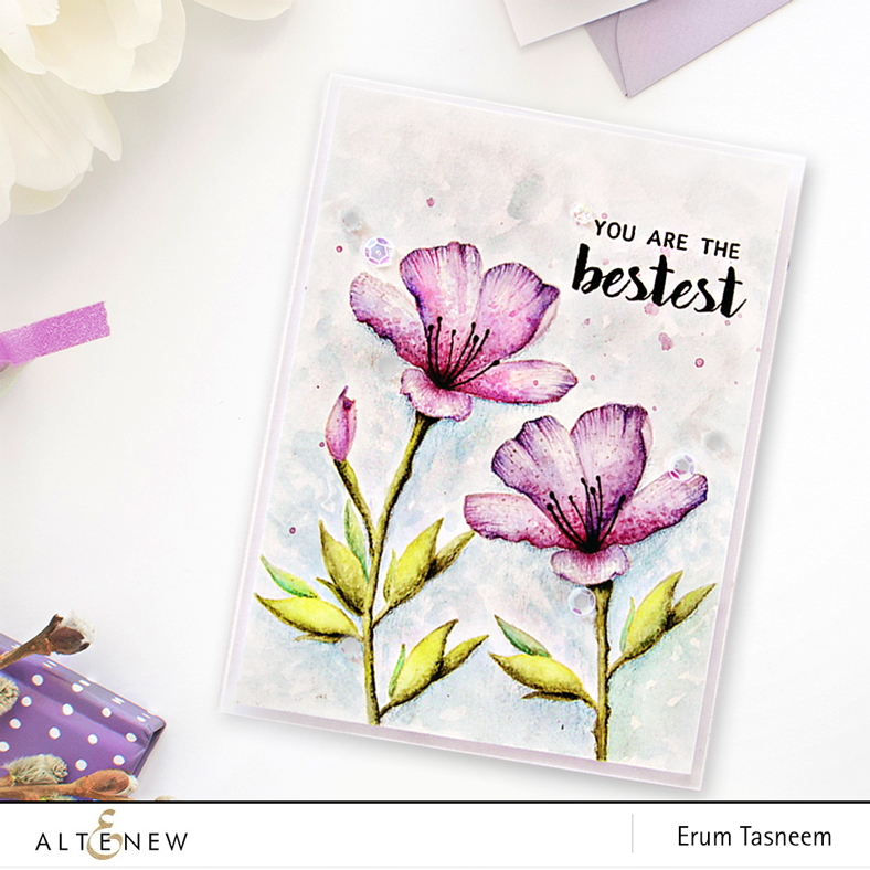 Altenew Springtime Azalea Stamp Set watercolored + sentiment from Floral Shadow Stamp Set