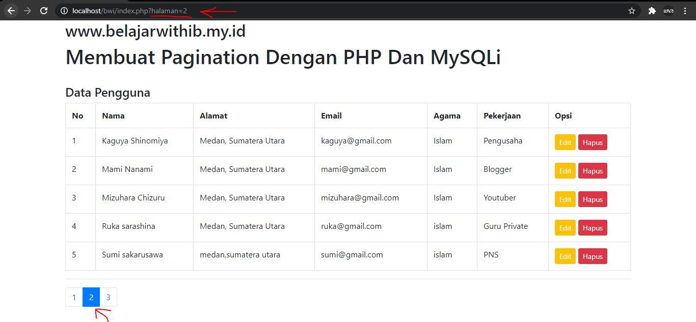 Tutorial PHP Pemula Part 17 : Cara Membuat Pagination Dengan PHP Dan MYSQLi