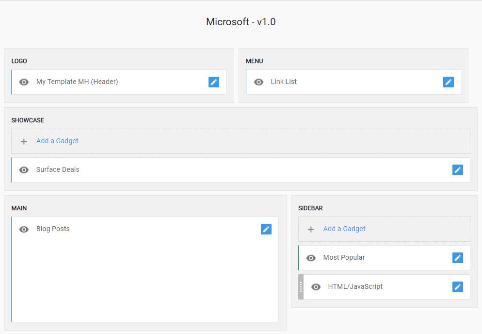 Phần bố cục layout của Microsoft Giao diện blogspot tin tức