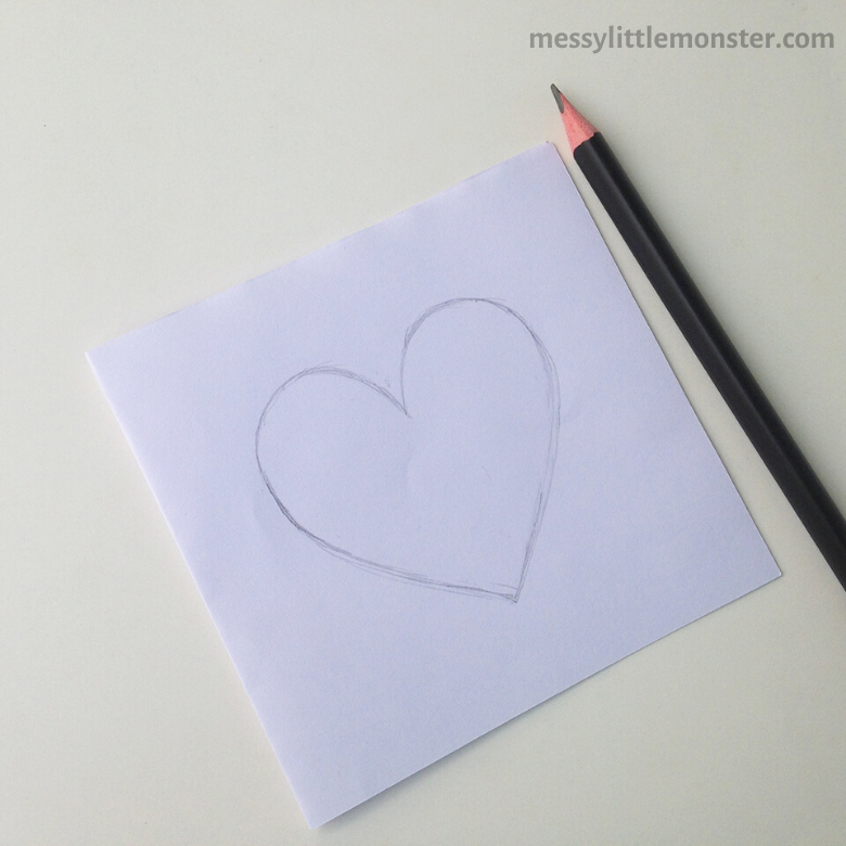 drawing a heart for heart craft