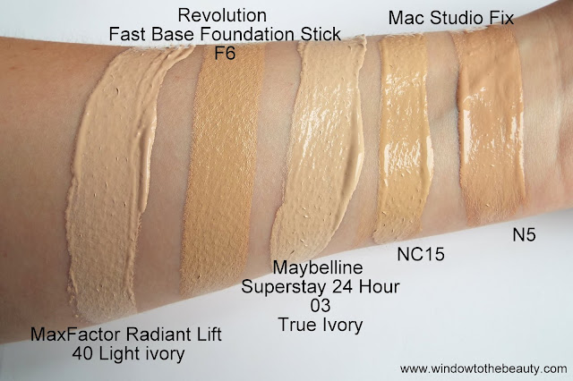 mac n5, nc15 vs revolution f6, maxfactor 40 light ivory, maybelline 03 true ivory swatches