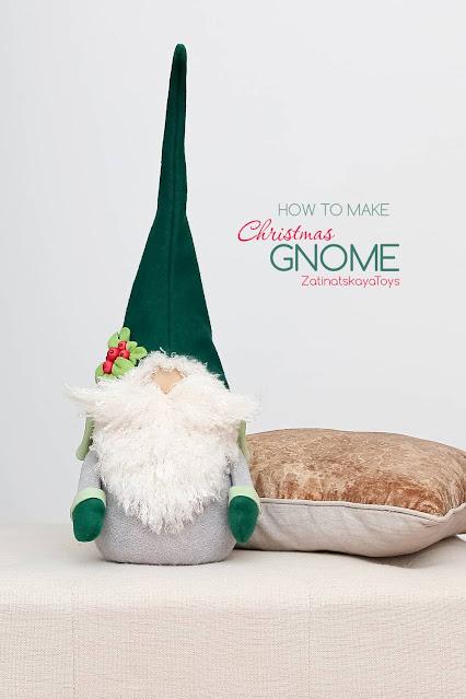Olof large Christmas gnome by sewing patterns of Zatinatskaya Natalia