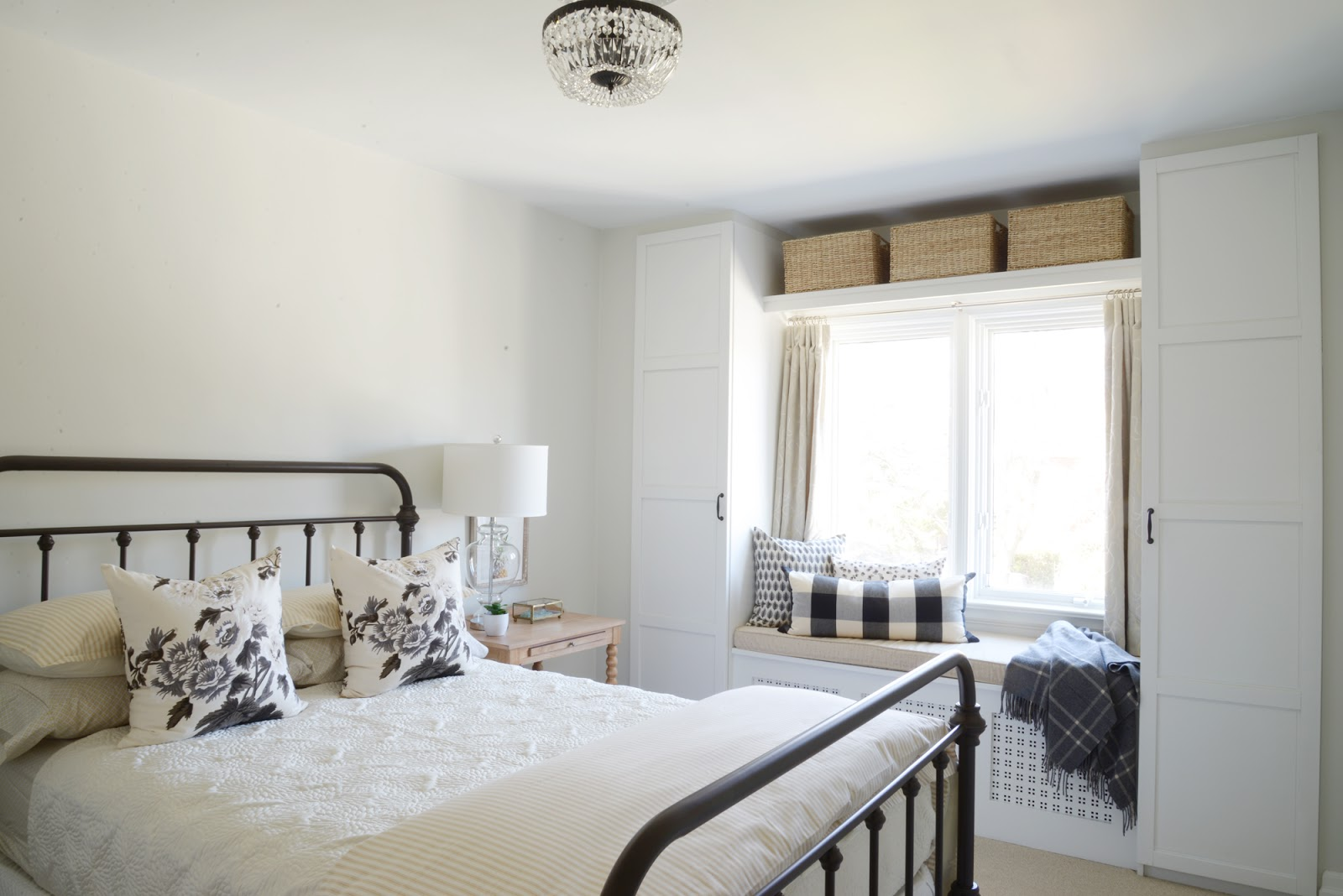 built in window seat, ikea pax wardrobe hack, guest bedroom
