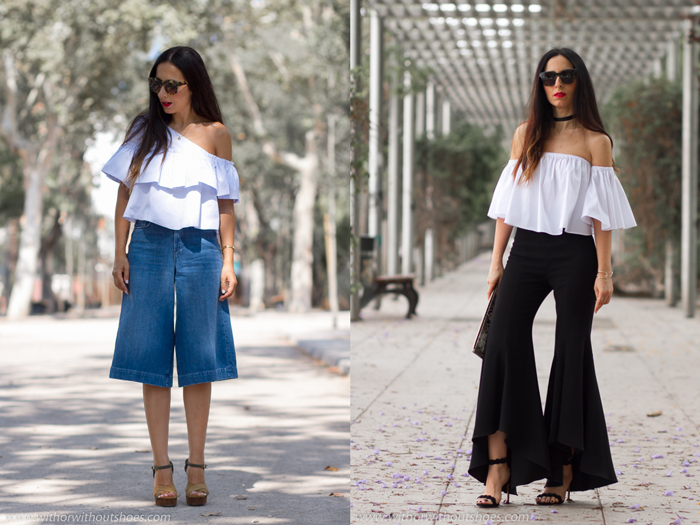 mejores looks streetstyle tendencias choker culottes pantalones acampanados off the shoulder