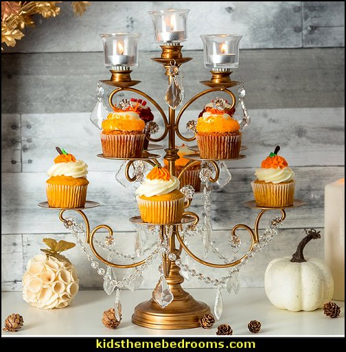 thanksgiving Cupcake Stand  autumn fall themed bedroom decorating seasonal decor -  Autumn Fall Thanksgiving Harvest Decor  - fall themed bedding - fall bedroom decor - rustic decorating for thanksgiving  - Autumn colors decorate for fall  -
