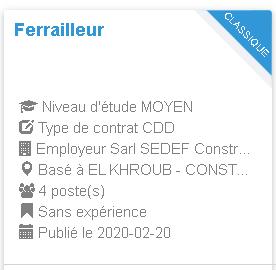 Employeur : Sarl SEDEF Construction