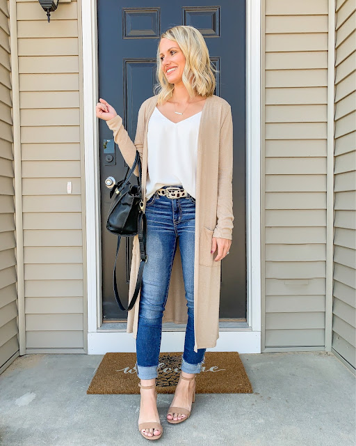 Early fall outfit   Duster cardigan