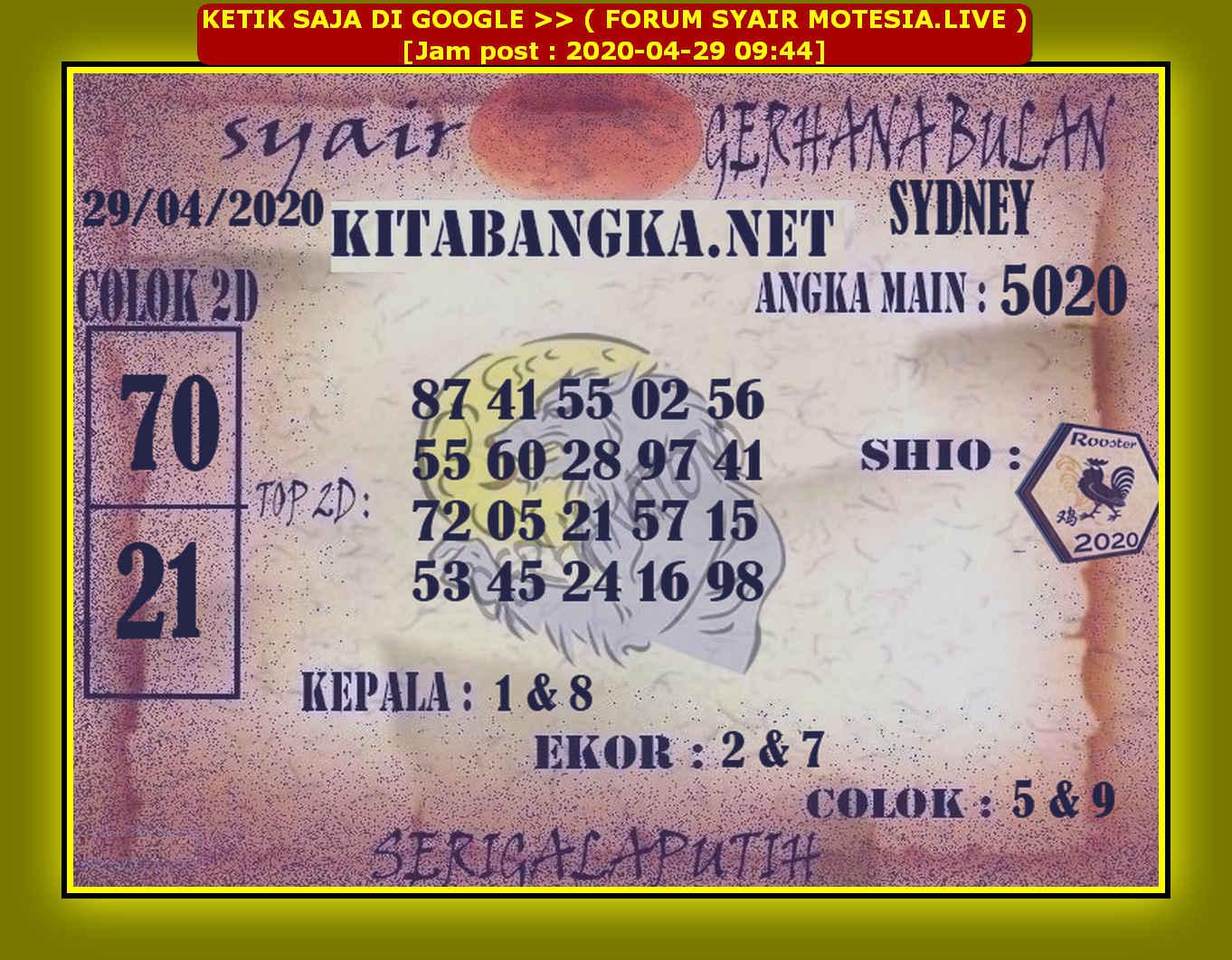 Kode syair Sydney Rabu 29 April 2020 71