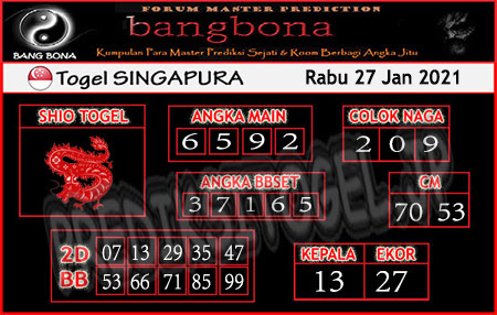 Prediksi Bangbona SGP Rabu 27 Januari 2021