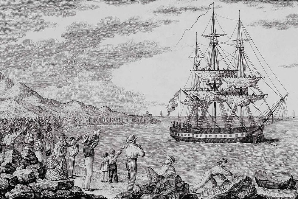 The corvette María Pita departs from the port of La Coruña in 1803.