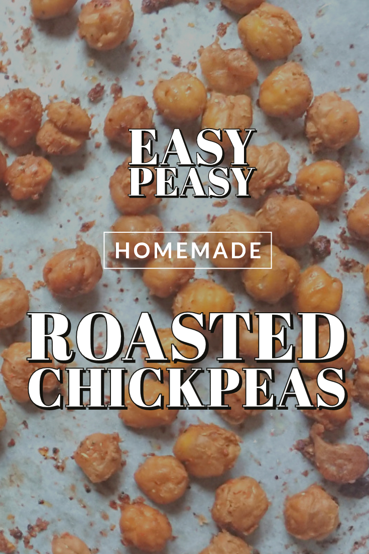 pinning image for homemade back to school Spicy Roasted Chickpeas