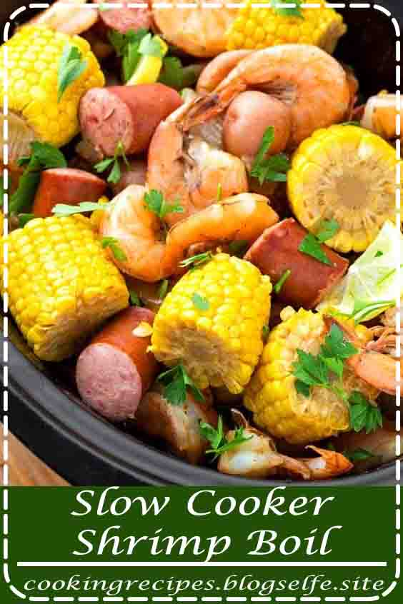 4.7 ★★★★★ | Slow Cooker Shrimp Boil is a fun dinner that you get to eat with your hands! Juicy corn, perfectly cooked shrimp, sausage, and potatoes are all cooked in a flavorful broth with Cajun/Creole spices. #crockpot recipes #cheap #dinners