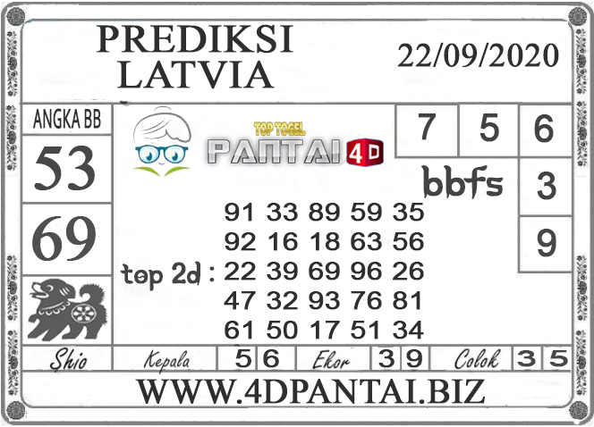 PREDIKSI TOGEL LATVIA PANTAI4D 22 SEPTEMBER 2020