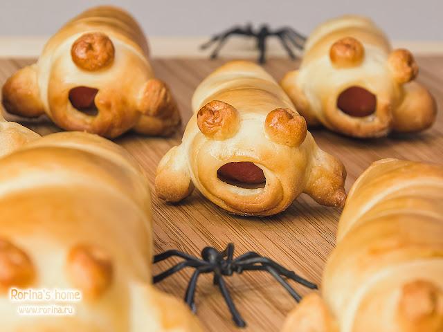 Монстры из сосисок на Хэллоуин