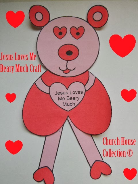 Jesus Loves Me Beary Much-Valentine's Day Cutout Craft For Kids
