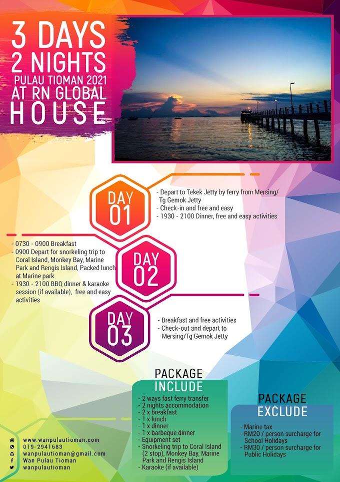 Pakej Percutian 3 Hari 2 Malam Ke Pulau Tioman 2021 - RN Global House ~ Pulau Tioman